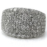 Wide 9 Row Pave set Diamond Ring 3.32CT TW