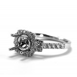 Micropave with Cushion shape Halo Diamond Engagement Ring Setting