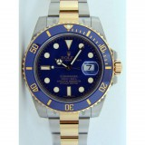 Rolex Submariner Two Tone Blue Dial Automatic Watch