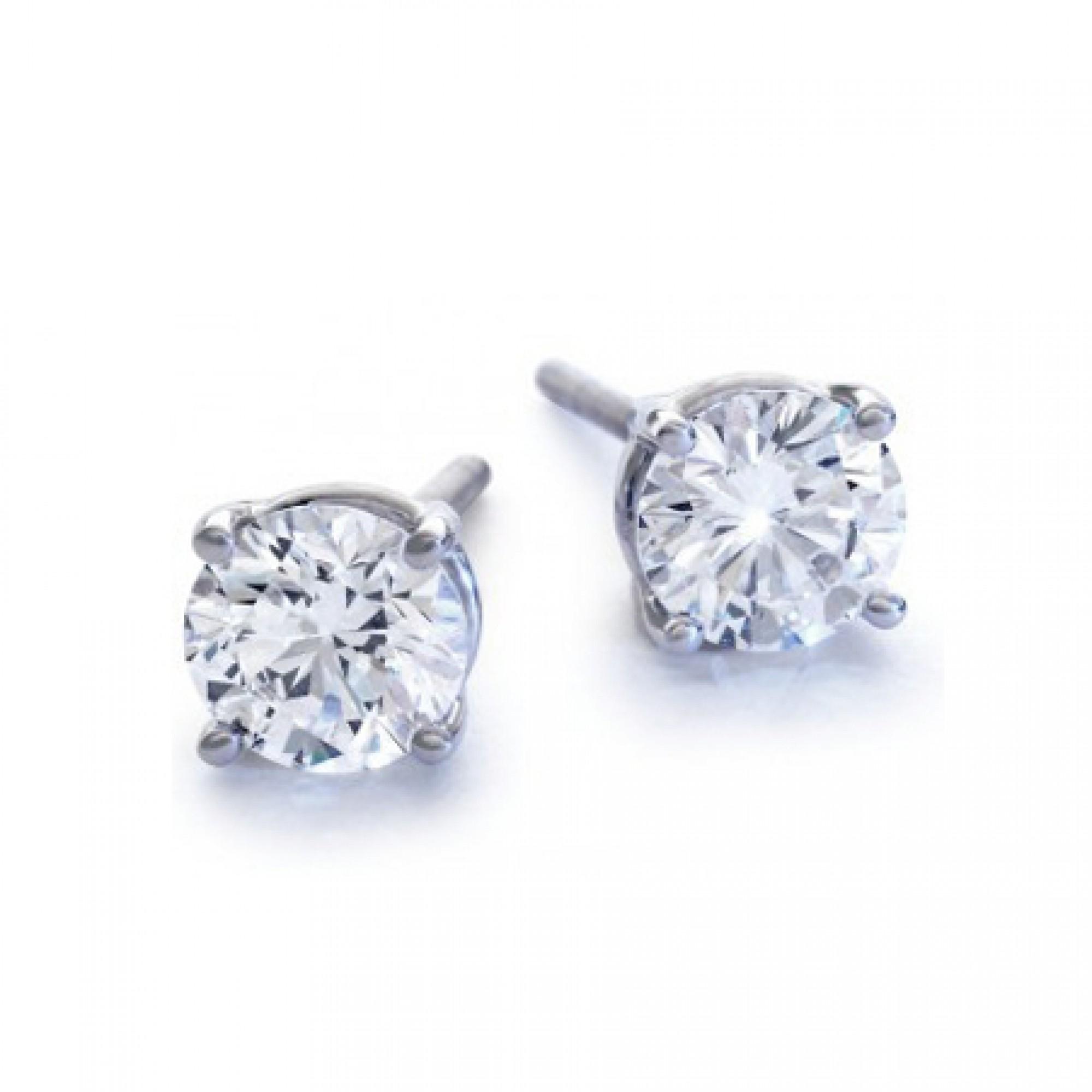 1 3 4ct Tw Round Diamond Stud Earrings 14kt White Gold