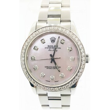 Rolex Air-King Stainless Steel Pink Diamond Dial 34mm Automatic Watch