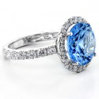 5 Cts Blue Aquamarine Fancy Ring set in 18K White Gold