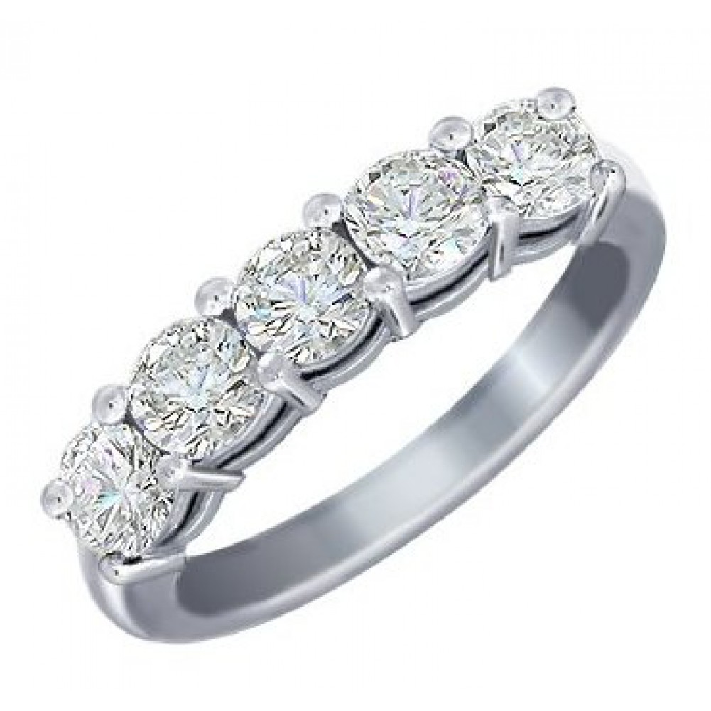 5 Stone Shared Prong Diamond Wedding Band