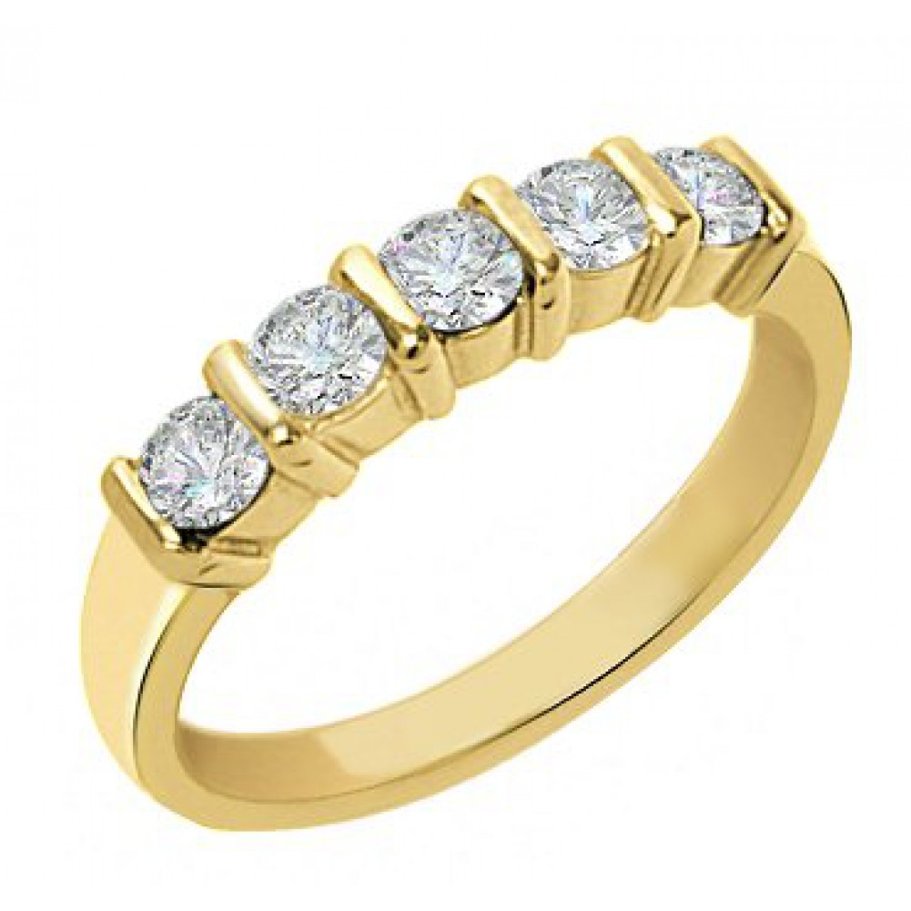 5 stone bar set diamond wedding band - Wedding Rings For Women Cheap