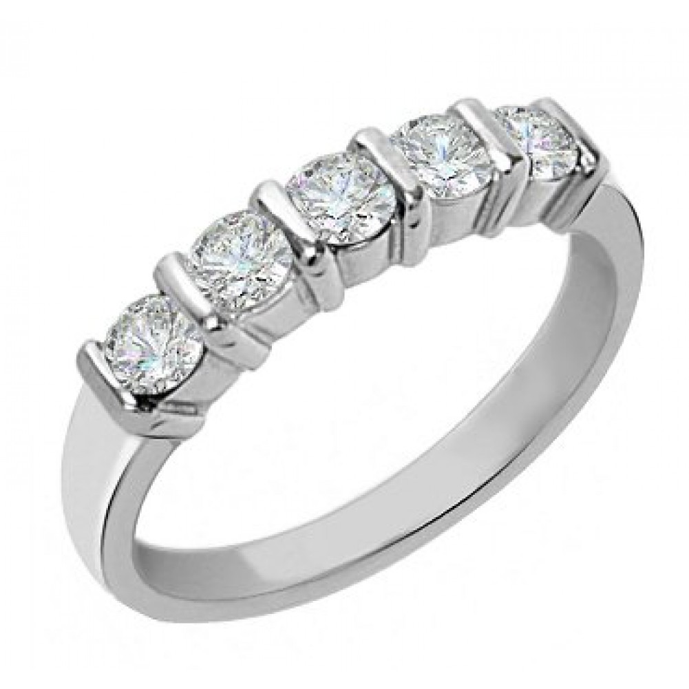 5 Stone Bar Set Round Cut Diamond Wedding Band