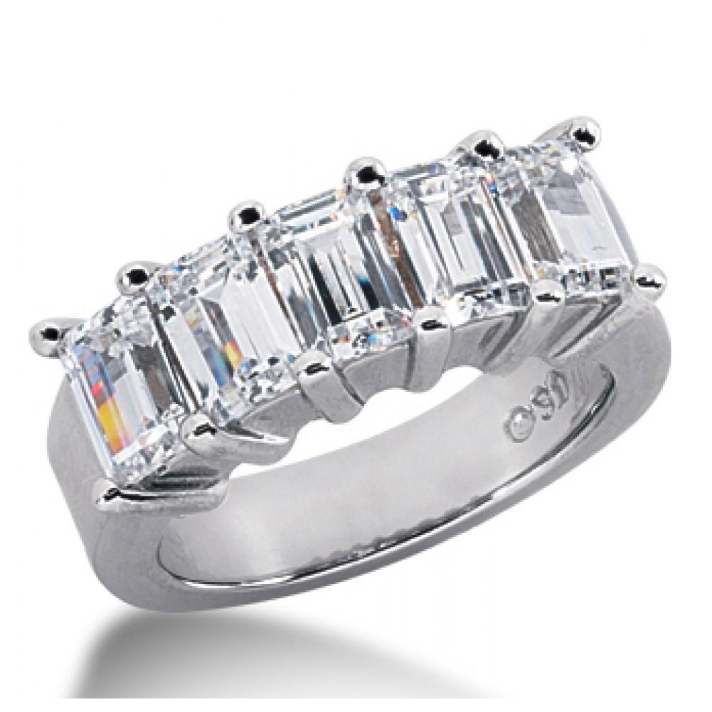 5 Stone Emerald Cut Diamond Wedding Band