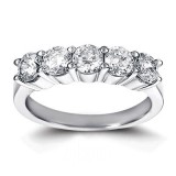 5 Stone Round Diamond Wedding band 3.00Cts