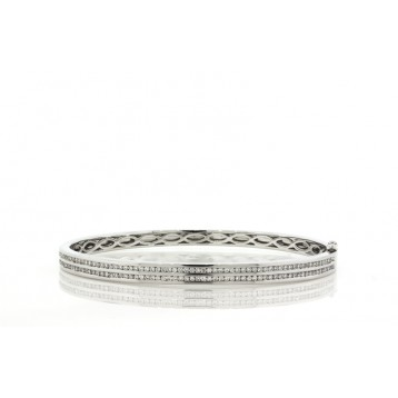 1.00Ct 2 Row Channel Set Diamond Bangle Bracelet
