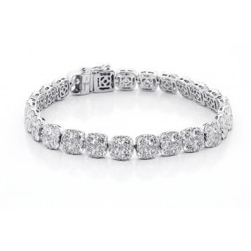 17.57 Ctw Tennis Diamond Bracelete Set in 18K White Gold