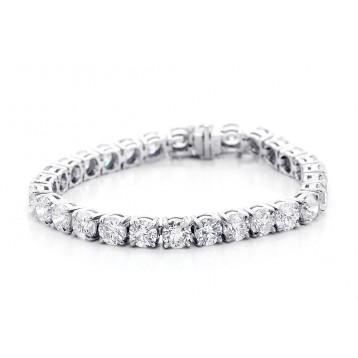 Round Cut Diamond Tennis Bracelet Set in 14K White Gold