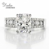 3.13 Cts Cushion Cut Diamond Engagement Ring set in 18k White Gold