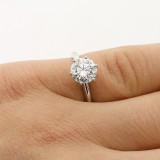 1.58 CTS ROUND CUT DIAMOND SOLITAIRE ENGAGEMENT RING SET IN 14K WHITE GOLD