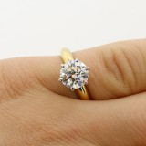 2.26 CTS BRILLIANT CUT DIAMOND ENGAGEMENT RING SET IN 14 K YELLOW GOLD