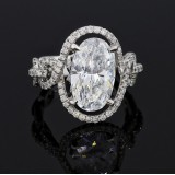 4.58 Cts.Oval Halo Engagment Rings
