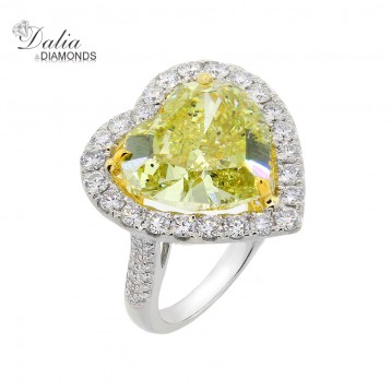 11.51 Cts Heart Shape Fancy Yellow Ring with Halo in 14K White Gold