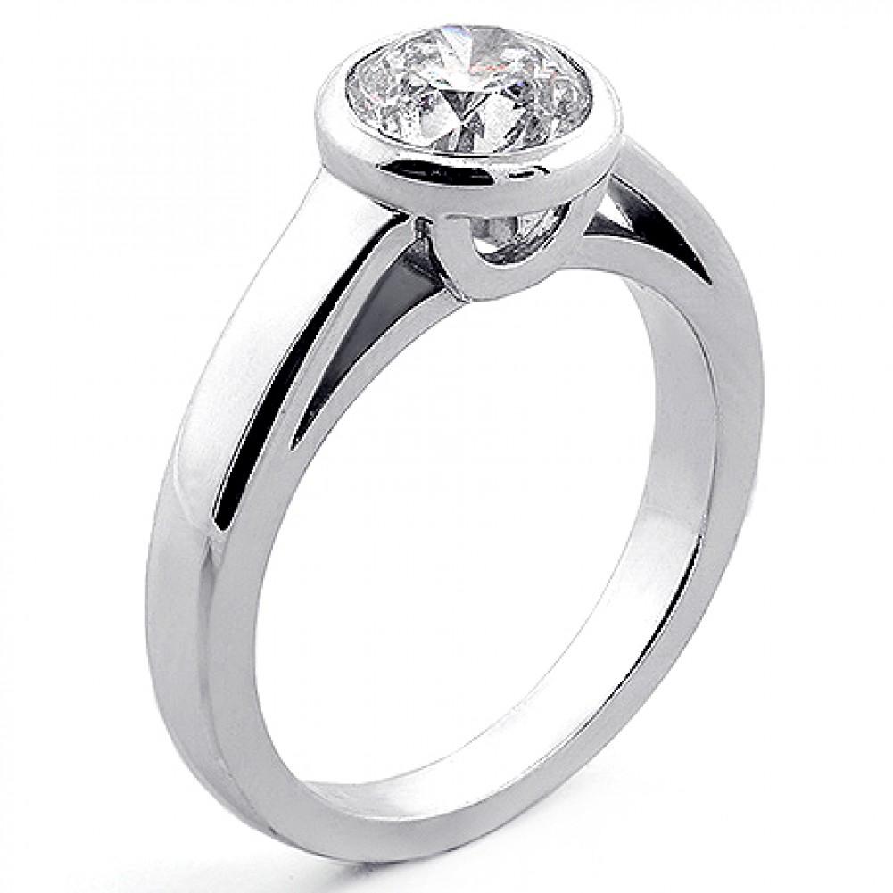 151 Cts Bezel Set Round Cut Diamond Engagement Ring