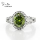 2.72 Cts Green Diamond Oval Engagement Ring with Halo set in 18K White Gold