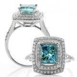 2.00 Cts Princess Cut Blue Diamond Engagement Ring Set in Double Halo in 18K White Gold