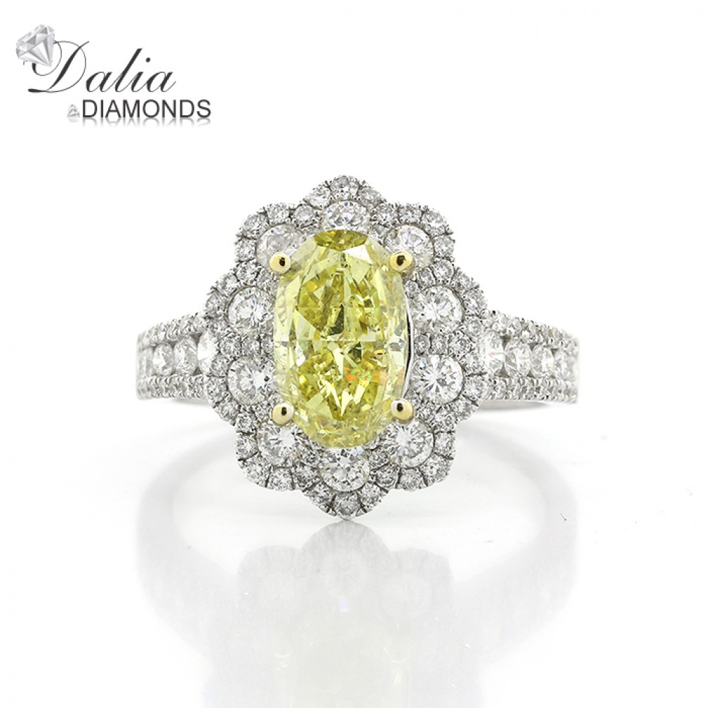 332 Cts Oval Cut Yellow Diamond Ring With Flower Shape Halo Set In