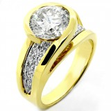 3.41 Cts Round Cut Diamond Engagement Ring Set in Yellow Gold Twisted Setting