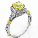 1.72 ct Fancy Yellow Cushion Cut Halo Diamond Engagement Ring