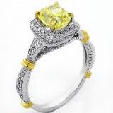1.72 ct Fancy Yellow Cushion Cut Halo Diamond Engagement Ring