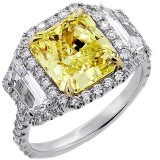 6.14 cts. Fancy Yellow Cushion Cut Diamon Set in Platinum Engagment Ring