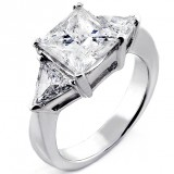 4.03 Cts Princess Cut and Trillion Cut Three Stone Engagement  Ring set in 14K White Gold