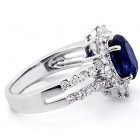 2.57 Cts Oval Cut Blue Gemstone with Round Brilliant Cut Diamonds Engagement Ring Set in 18K White Gold
