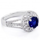 1.67 Round Cut Blue Gemstone Double Halo and Triple Shank Band Engagement Ring Set in 18K White Gold