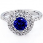 1.25 Round Cut Blue Gemstone Double Diamond Halo Engagement Ring Set in 18K White Gold