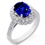 2.32 Cts Oval Cut Gemstone Oval Halo, Engagement Ring Set in 18K White Gold