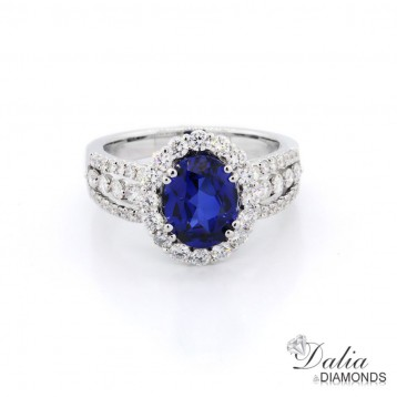 2.16 Cts Oval cut Blue Gemstone oval halo triple band, Engagement Ring Set in 18K White Gold
