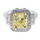 4.05 CTS FANCY YELLOW CUSHION CUT DIAMOND ENGAGEMENT RING SET IN 18K WHITE GOLD