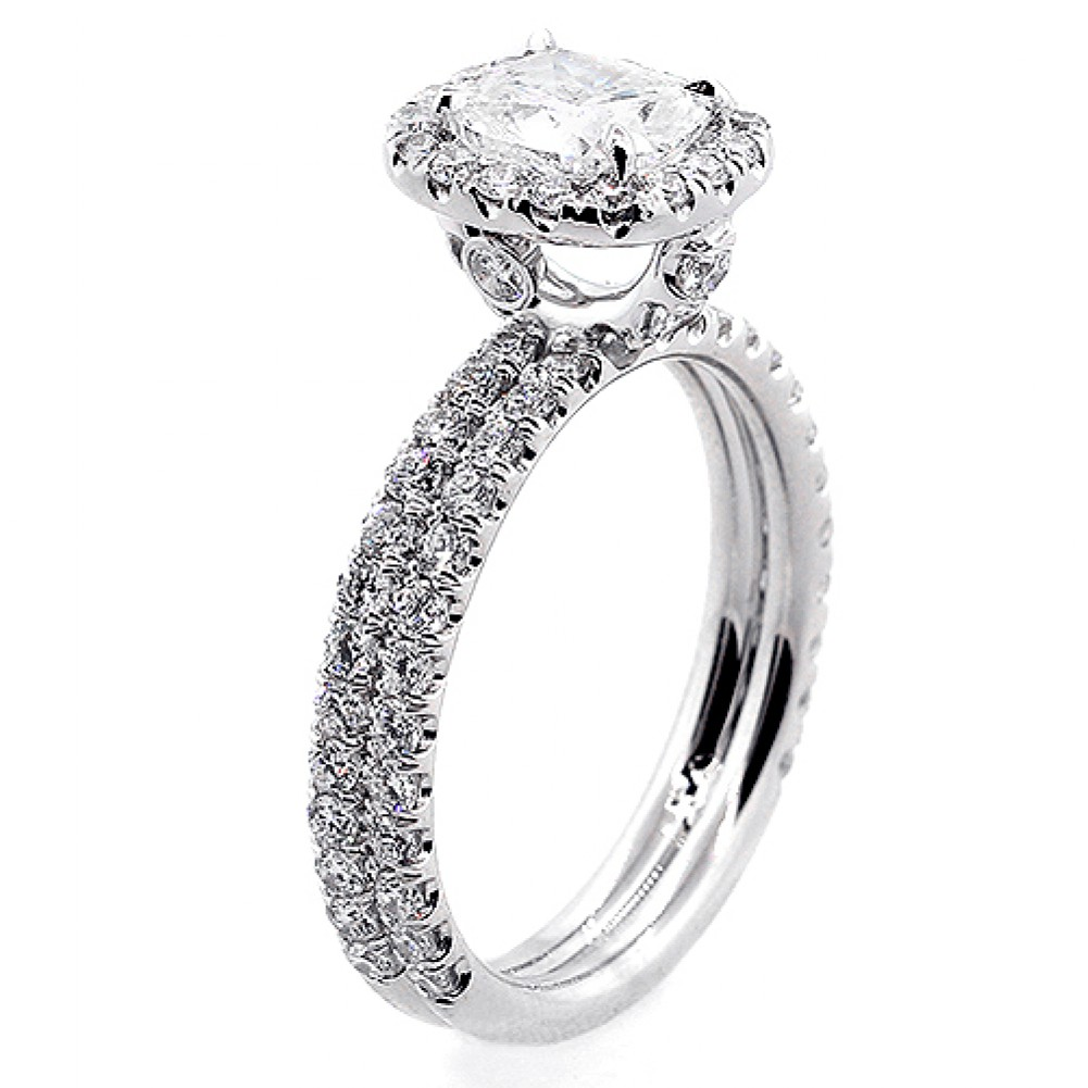 2.47 Cts Cushion Cut Diamond Halo Double Band , Engagement Ring Set In 18K  White Gold