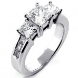 2.62 Cts Three Stone Princess Cut Diamond Engagement Ring set in 14K White Gold