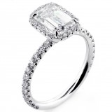 2.42 Cts Emerald Cut Diamond Halo Engagement Ring set in Platinum