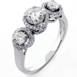 1.17 Cts Three Stone Round Cut Diamond Engagement Ring set in 14K White Gold