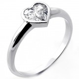 0.84 Cts Heart Shaped Diamond Engagement Ring Set in 14K White Gold Solitaire Bezel Setting