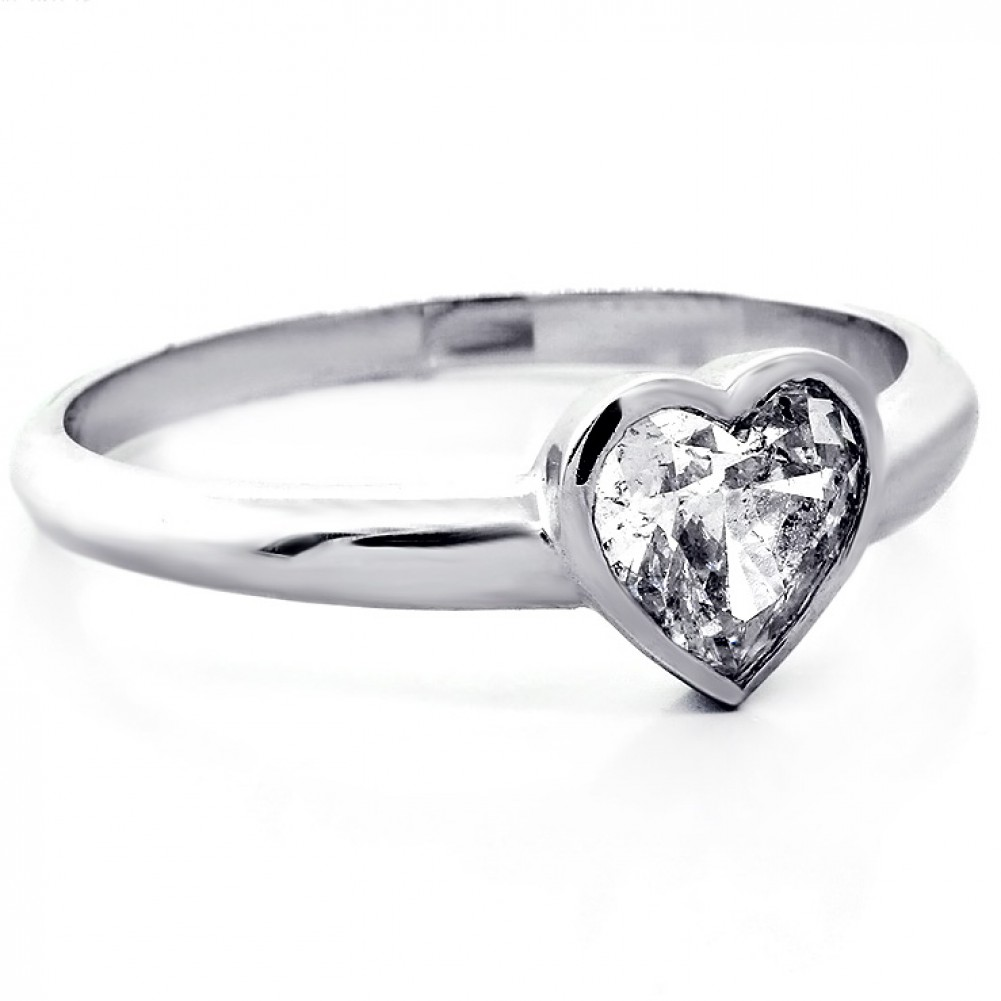 084 Cts Heart Shaped Diamond Engagement Ring Set In 14k White Gold  Solitaire Basil Setting