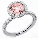 2.07 Cts Round Cut Vivid Pink Diamond Engagement set in Platinum
