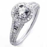 2.13 Cts Round Cut  Diamond Halo Engagement Ring set in 18K White Gold