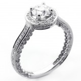 2.32 Cts Round Cut Diamond Engagement Ring set in 14K white gold