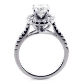 1.99 Cts Round Cut Diamond  Halo Engagement Ring set in 14K White Gold