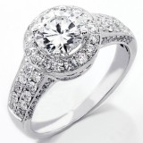 2.19 Cts Round Cut Diamond Halo Engagement Ring set in 14K White Gold