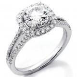 1.80 Cts Round Cut Diamond Halo Engagement Ring Split Shank set in 18K White Gold