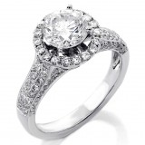 2.54 Cts Round Cut Diamond Halo Engagement Ring set in 18K White Gold