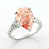 5.82 Cts Fancy Vivid Pink Diamond Engagement Ring set in 18K White Gold