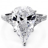6.83 Cts Pear Shape Diamond Engagement Ring set in 18K White Gold