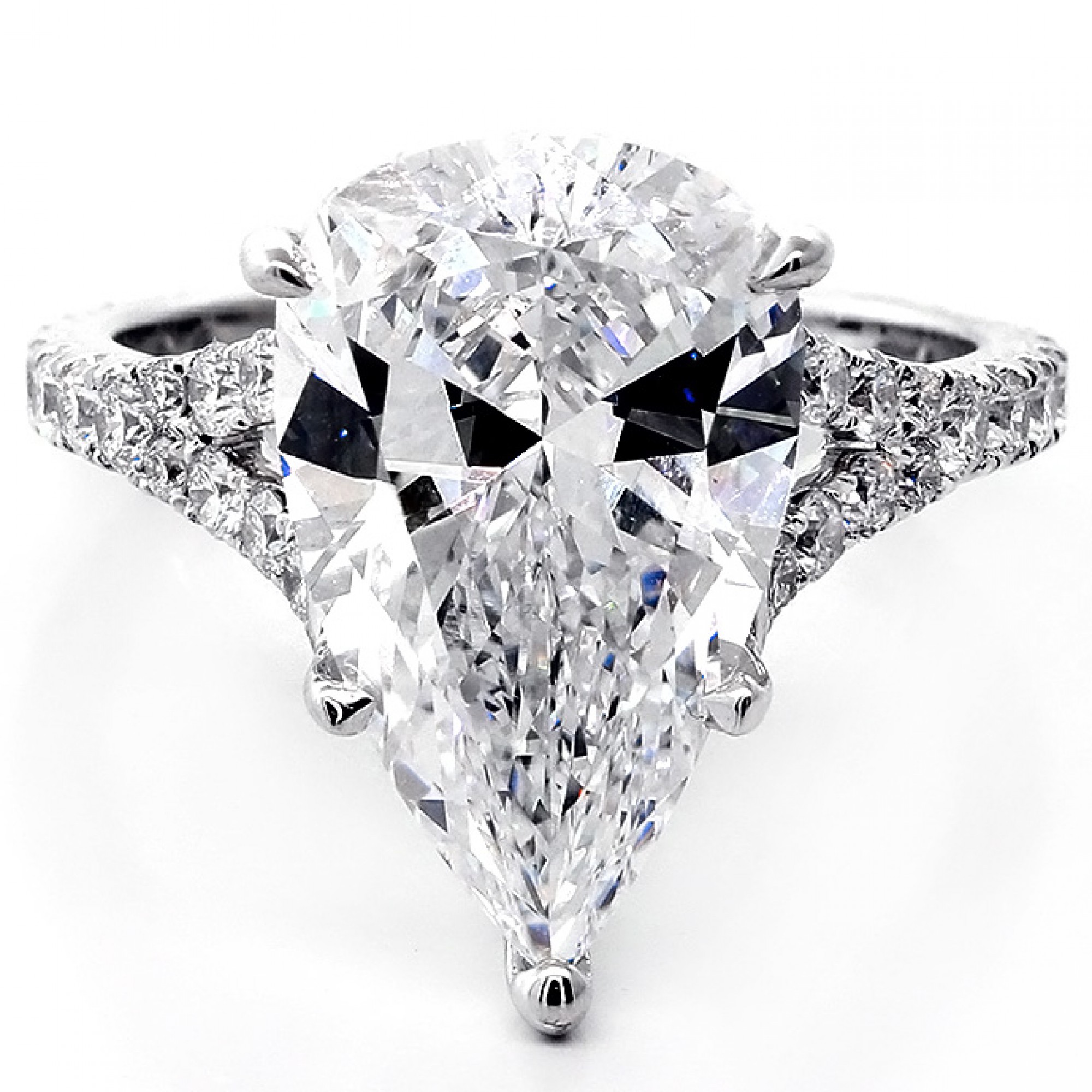6 83 Cts Pear Shape Diamond Engagement Ring Set In 18k White Gold